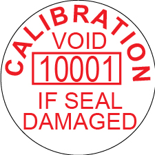 Calibration void seal with Serial number